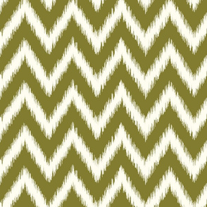 Olive Green and Ivory Ikat Chevron