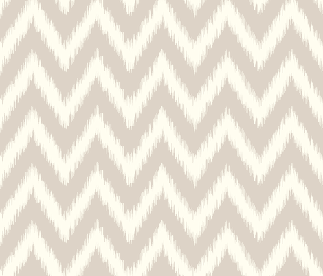 Linen Beige and Ivory Ikat Chevron fabric by sweetzoeshop on Spoonflower - custom fabric