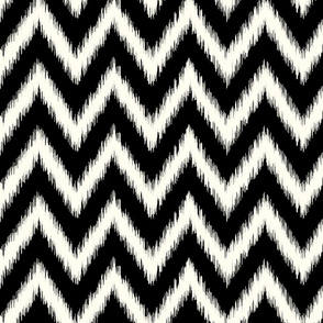 Black and Ivory Ikat Chevron