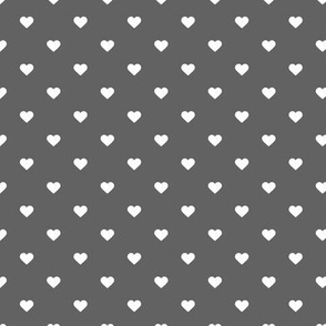 Charcoal Gray Polka Dot Hearts