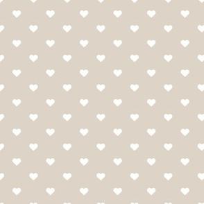 Linen Beige Polka Dot Hearts