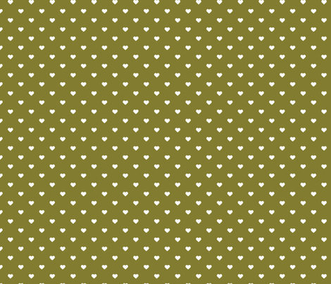 Olive Green Polka Dot Hearts fabric by sweetzoeshop on Spoonflower - custom fabric