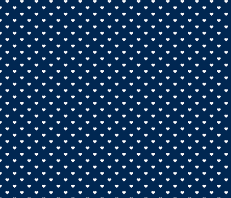Navy Blue Polka Dot Hearts fabric - sweetzoeshop - Spoonflower