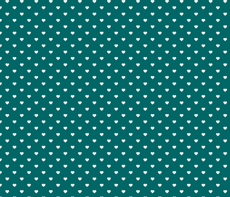 Dark Teal Polka Dot Hearts fabric by sweetzoeshop on Spoonflower - custom fabric