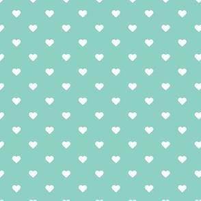 Aqua Polka Dot Hearts
