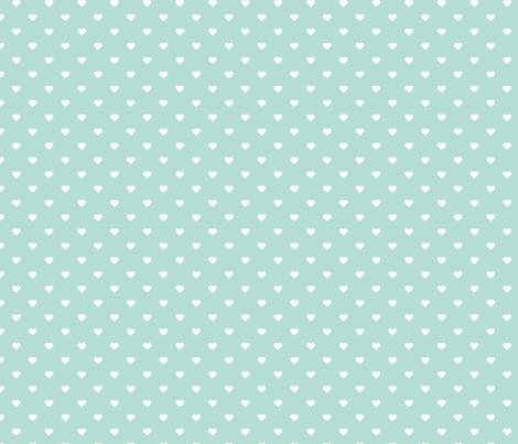 Mint Polka Dot Hearts fabric by sweetzoeshop on Spoonflower - custom fabric