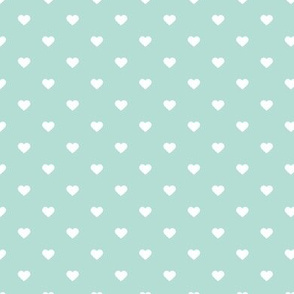 Mint Polka Dot Hearts