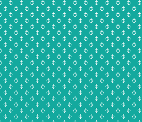 Teal Anchors fabric by sweetzoeshop on Spoonflower - custom fabric