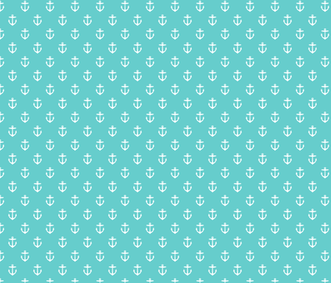Turquoise Anchors fabric by sweetzoeshop on Spoonflower - custom fabric