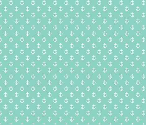 Aqua Anchors fabric by sweetzoeshop on Spoonflower - custom fabric