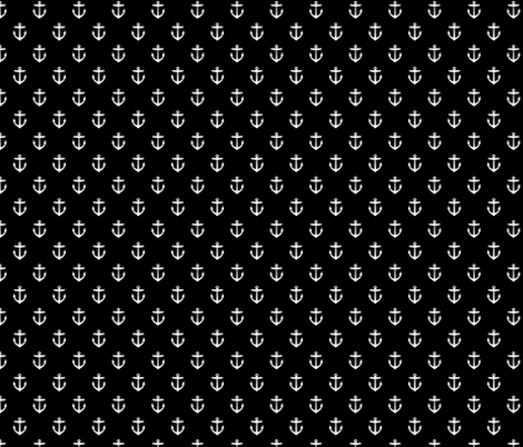 Black and White Anchors fabric by sweetzoeshop on Spoonflower - custom fabric