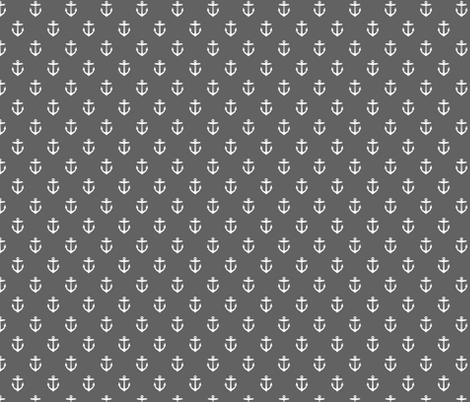 Charcoal Gray Anchors fabric by sweetzoeshop on Spoonflower - custom fabric