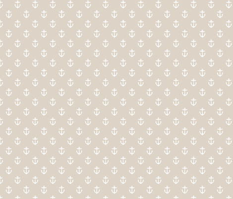 Linen Beige Anchors fabric by sweetzoeshop on Spoonflower - custom fabric