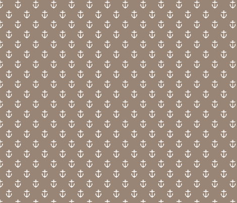 Mocha Brown Anchors fabric by sweetzoeshop on Spoonflower - custom fabric
