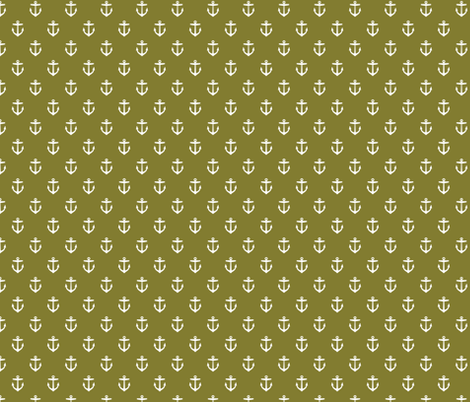 Olive Green Anchors fabric by sweetzoeshop on Spoonflower - custom fabric