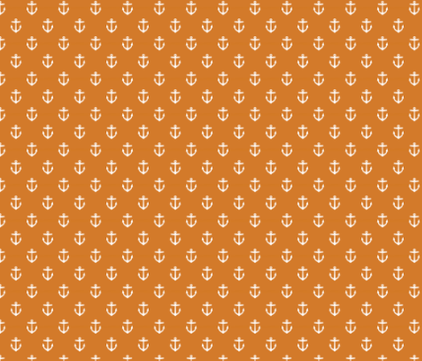 Burnt Orange Anchors fabric by sweetzoeshop on Spoonflower - custom fabric