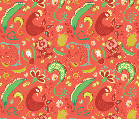 Paisley Coral fabric by elisabeth_demoo on Spoonflower - custom fabric