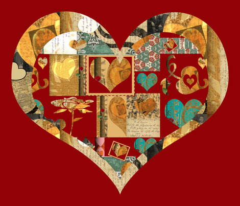 Collage of Hearts (large scale design) fabric by anniedeb on Spoonflower - custom fabric