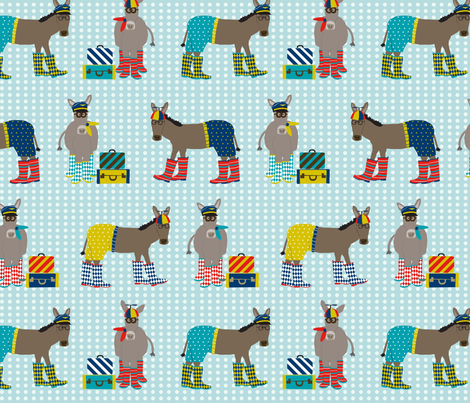 Donkeys in Beanie Hats and Boots fabric by lauriewisbrun on Spoonflower - custom fabric