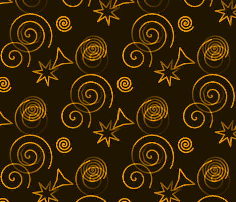 Collage Mirage - Gold Dark fabric by telden on Spoonflower - custom fabric