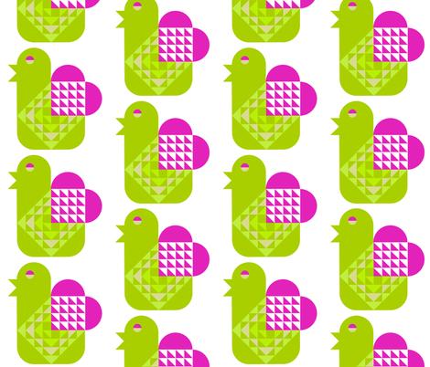 Bird with a Valentine Heart fabric by gigi_migi on Spoonflower - custom fabric