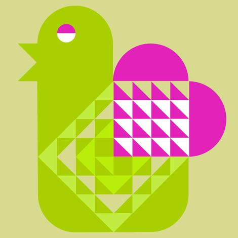 Bird with a Valentine (Heart) fabric by gigi_migi on Spoonflower - custom fabric