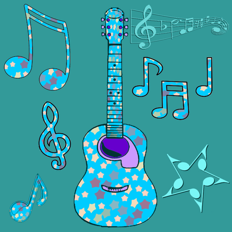 stars and guitars fabric by krs_expressions on Spoonflower - custom fabric