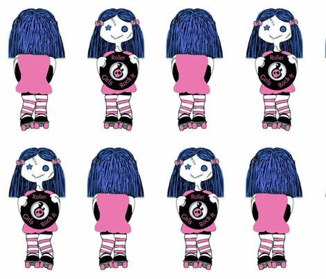 Large Pink Rocking Derby Doll fabric by derbymom716 on Spoonflower - custom fabric