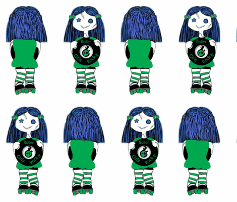 Large Green Rocking Derby Doll fabric by derbymom716 on Spoonflower - custom fabric
