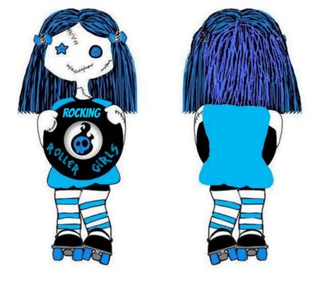 Large BLUE rocking doll fabric by derbymom716 on Spoonflower - custom fabric