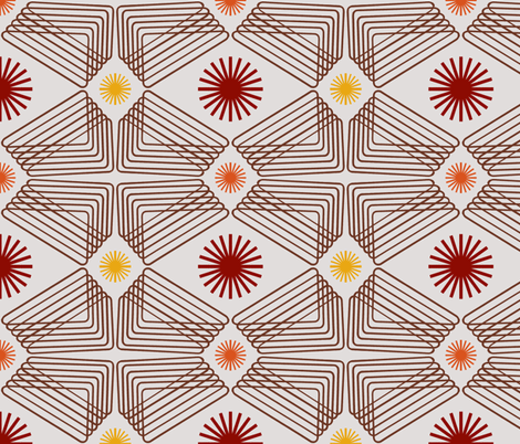 Cream Ripples and Suns fabric by telden on Spoonflower - custom fabric