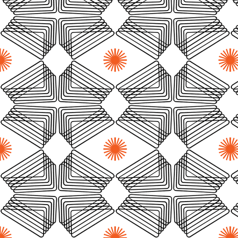 Ripples and Wheels - Black, White, Orange fabric by telden on Spoonflower - custom fabric
