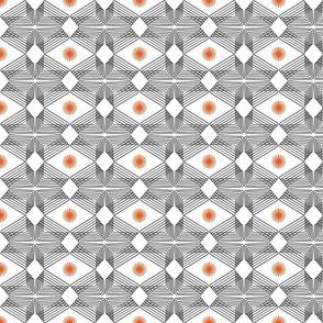 Ripples and Wheels - Black, White, Orange