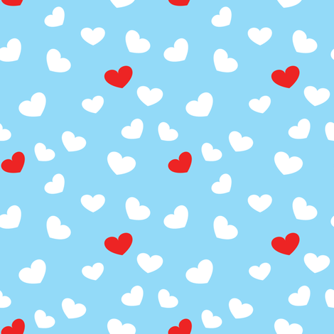 White and red Hearts in Sky fabric by witee on Spoonflower - custom fabric