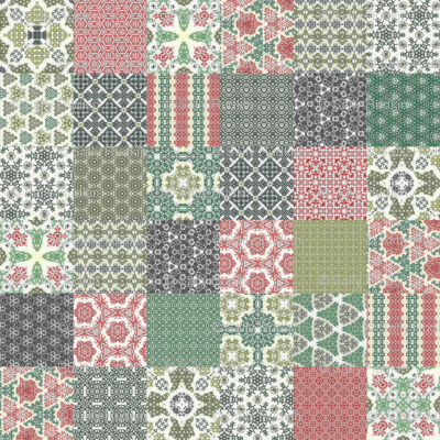 """Crazy Wreath Stitched Cheater Quilt - 3"""" Squares"""