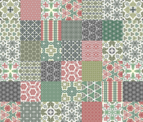 """Crazy Wreath Stitched Cheater Quilt - 3"""" Squares fabric by stitchinspiration on Spoonflower - custom fabric"""