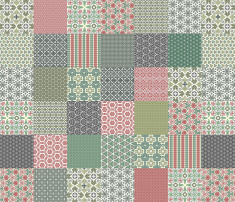 """Crazy Wreath Stitched Cheater Quilt - 6"""" Squares fabric by stitchinspiration on Spoonflower - custom fabric"""