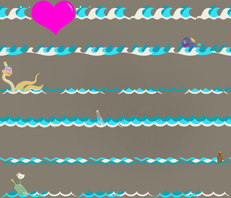 Love Notes Lost at Sea fabric by yourfriendamy on Spoonflower - custom fabric