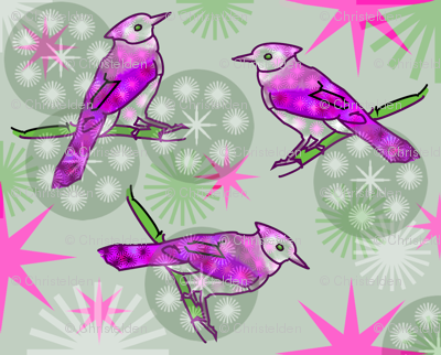 Pink Bluejays - Green