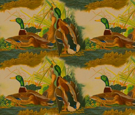 Antique Mallard Ducks - Robert Havell fabric by telden on Spoonflower - custom fabric