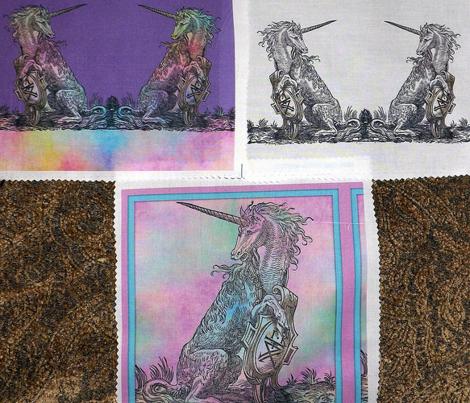 16th Century Unicorn Rainbows Border Print