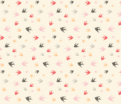 Sparrows in flight - coral / cream / beige / brown / grey / pink fabric by little_fish on Spoonflower - custom fabric