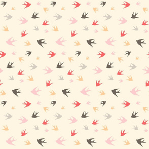 Sparrows in flight - coral / cream / beige / brown / grey / pink