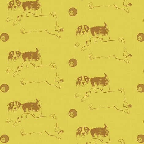 Puppy Love - yellow/brown fabric by materialsgirl on Spoonflower - custom fabric