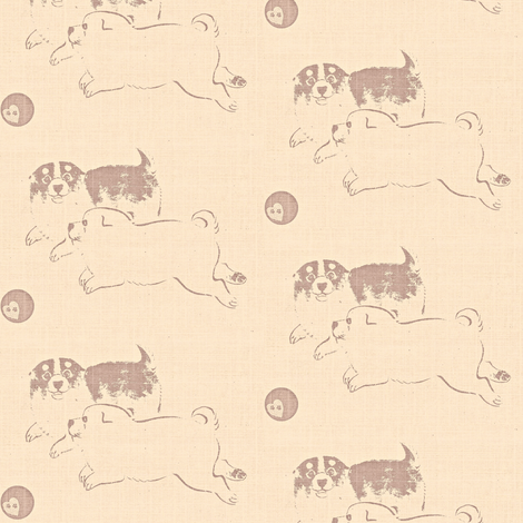 Puppy Love - faded pink and brown fabric by materialsgirl on Spoonflower - custom fabric
