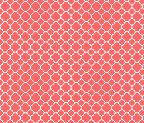 Coral Quatrefoil fabric by sweetzoeshop on Spoonflower - custom fabric