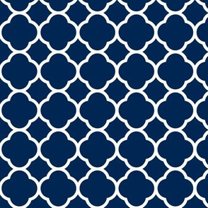 Navy Blue Quatrefoil