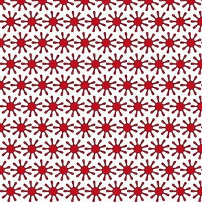 Red Splats Ditsy - White - Tiny