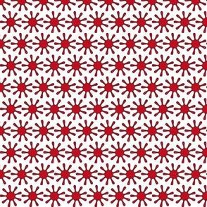 Red Splats Ditsy - White - Tiny