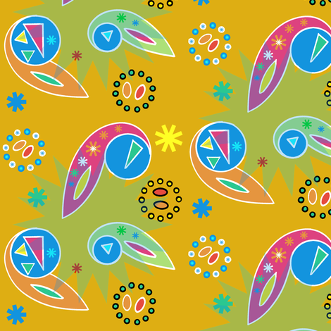 Gender-Neutral Paisley and Wheels Abstract fabric by telden on Spoonflower - custom fabric